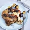 Kylling i ovn med hvidløg og rodfrugter